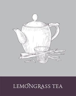 Detaillierte monochrome zeichnung der teekanne
