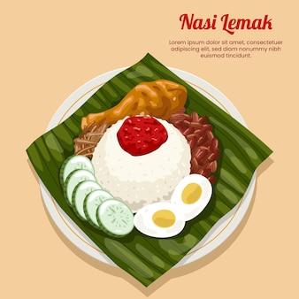 Detaillierte nasi lemak essen illustriert