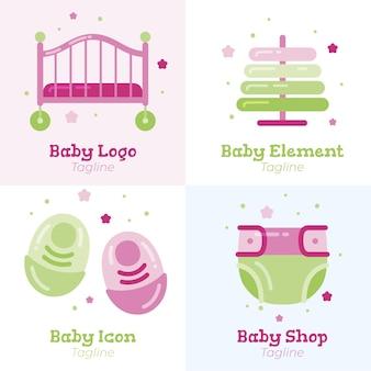 Detaillierte niedliche baby-logo-schablonensammlung
