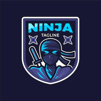 Detaillierte ninja-logo-vorlage