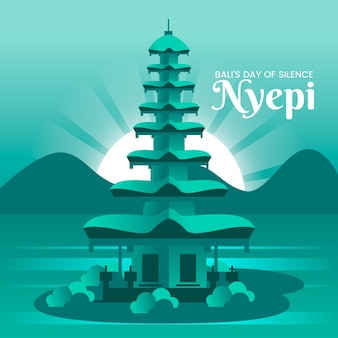 Detaillierte nyepi-illustration