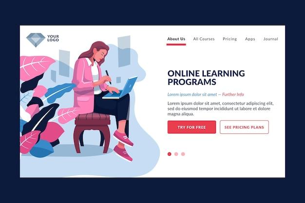 Detaillierte online-lern-landingpage-vorlage