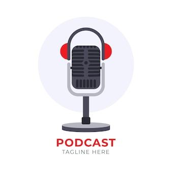 Detaillierte podcast-logo-vorlage