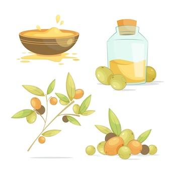 Detaillierte sammlung von arganölelementen