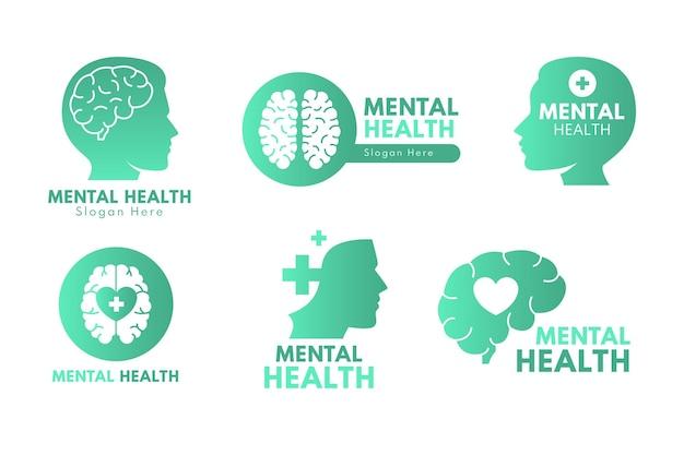 Detaillierte sammlung von logos für psychische gesundheit