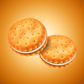 Detaillierte sandwichkekse oder cracker mit sahnefüllung. einfach im design zu verwenden. essen und süßigkeiten, backen und kochen thema.