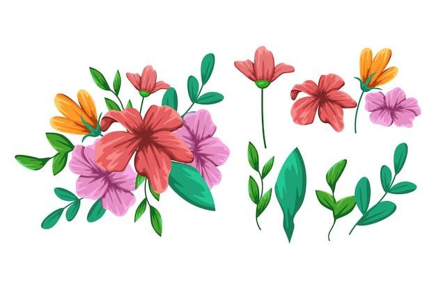 Detaillierte schöne frühlingsblumensammlung