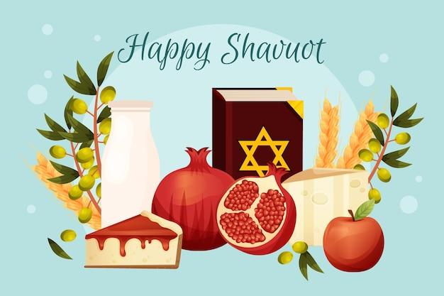 Detaillierte shavuot-illustration