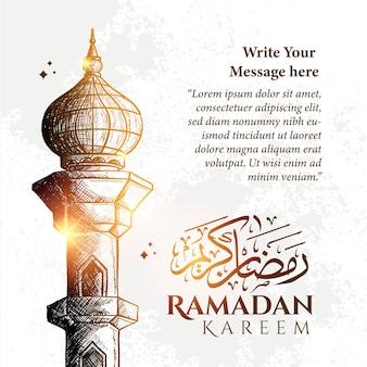 Detaillierte skizzenillustration des moscheeturms in der blauen farbe für ramadan kareem mit hintergrund und text.