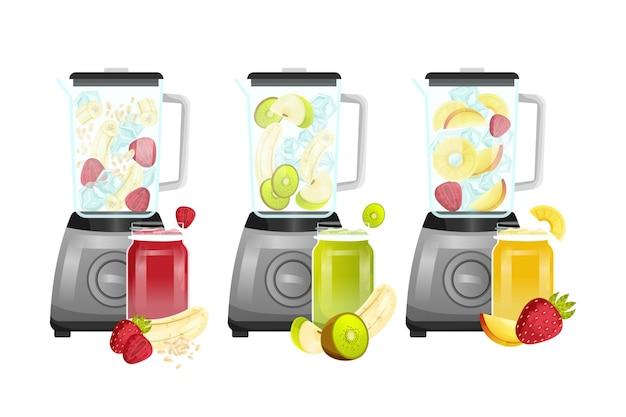Detaillierte smoothies im mixerglas