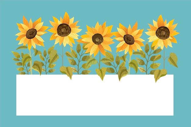 Detaillierte sonnenblumengrenze mit leerem raum
