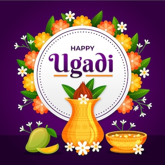 Detaillierte ugadi illustration