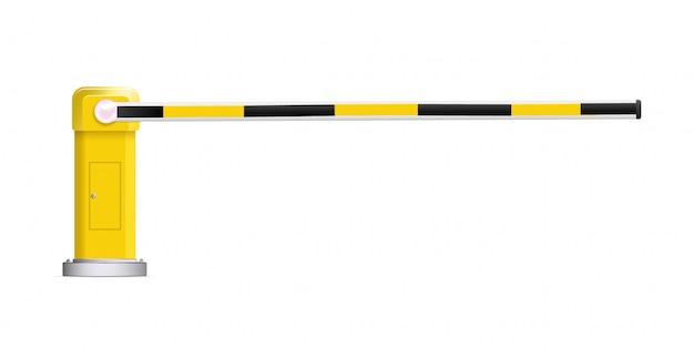 Detaillierte vektorillustration einer schwarz-gelb gestreiften auto-barriere mit stopp