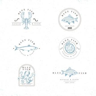 Detaillierte vintage angelabzeichen sammlung