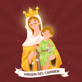 Detaillierte virgen del carmen illustration