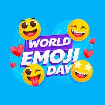 Detaillierte welt-emoji-tagesillustration