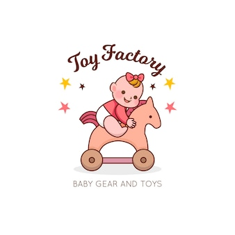 Detaillierter baby logo spielzeugladen