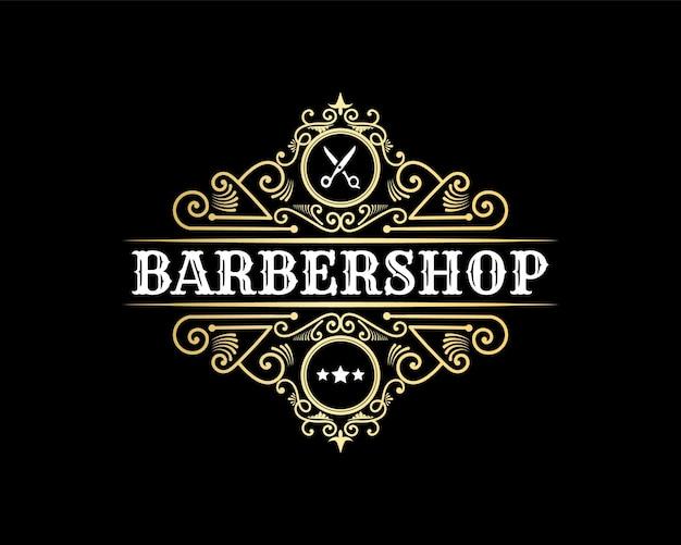 Detaillierter barbershop vintage luxus schriftzug dekoratives logo für tattoo studio friseur spa salon
