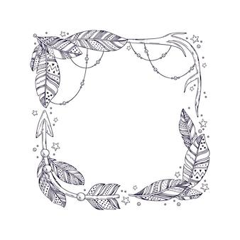 Detaillierter boho-rahmen mit federn