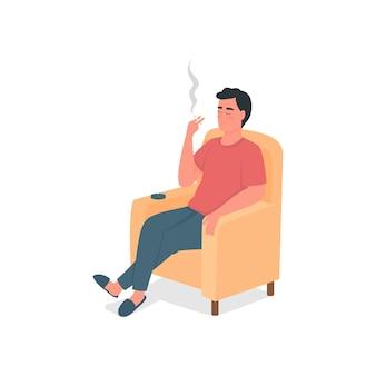 Detaillierter charakter der flachen farbe des rauchenden mannes