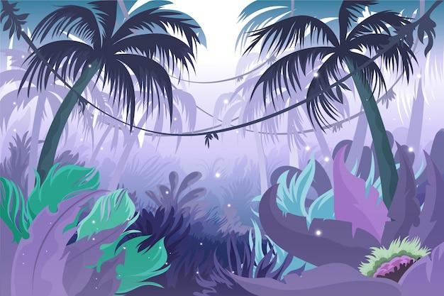 Detaillierter dschungelhintergrund mit palmen