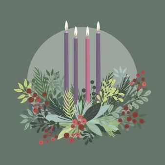 Detaillierter flacher adventskranz