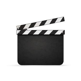 Detaillierter realistischer filmklöppel mit auf weiß isoliertem kopierraum