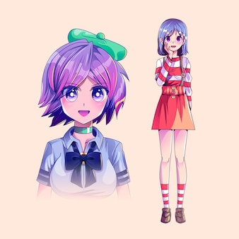 Detailliertes anime-charakter-paket
