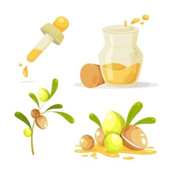Detailliertes arganöl-elementset