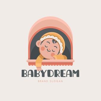 Detailliertes baby-logo, das in einem kinderwagen schläft