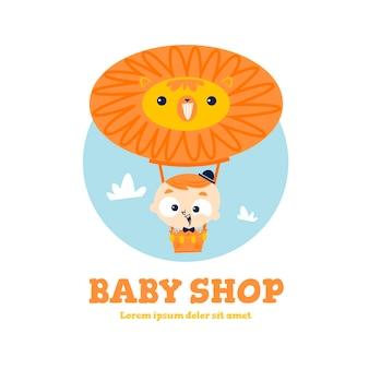 Detailliertes baby-logo mit löwen-heißluftballon