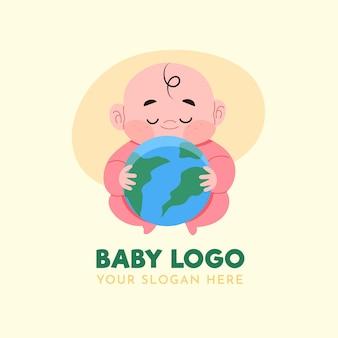 Detailliertes baby-logo mit planet erde