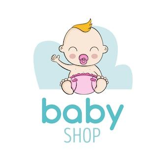 Detailliertes baby shop logo