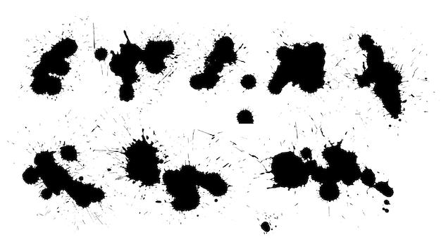 Detailliertes design der sammlung schwarzer tintenspritzer