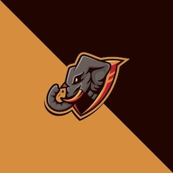 Detailliertes elefanten-maskottchen-logo