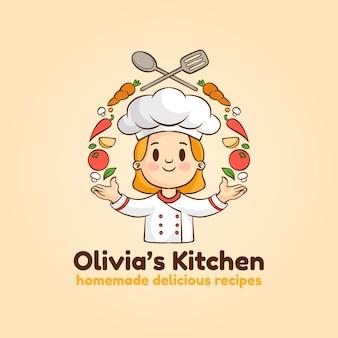 Detailliertes frauenkoch-logo