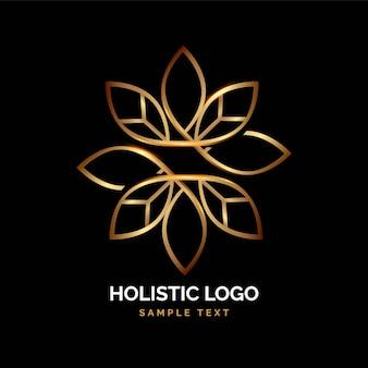Detailliertes goldenes ganzheitliches logo