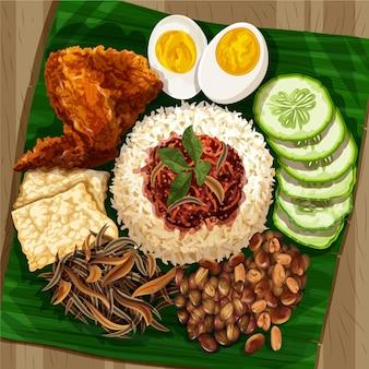 Detailliertes nasi-lemak-gericht