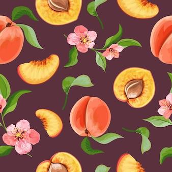Detailliertes pfirsichmusterdesign