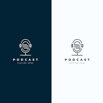 Detailliertes podcast-logo auf verschiedenfarbigem hintergrund