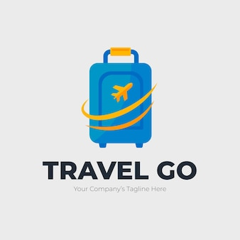 Detailliertes reiselogo mit gepäck