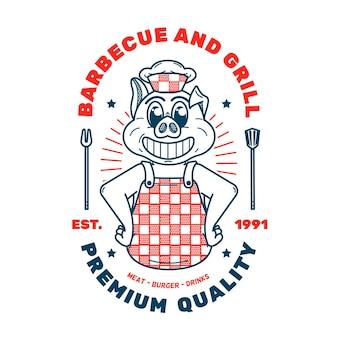 Detailliertes retro-cartoon-restaurantlogo