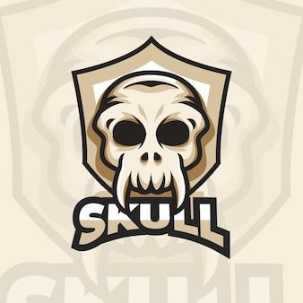 Detailliertes skull esports gaming logo