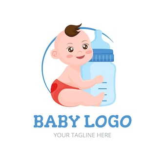 Detailliertes smiley-baby-logo
