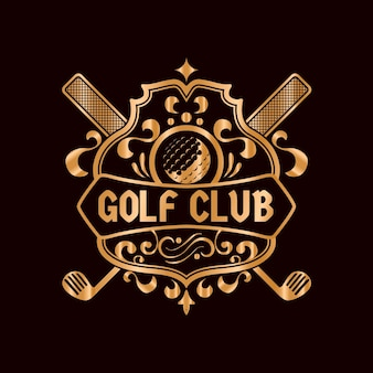 Detailliertes vintage goldenes golf-logo