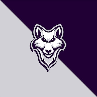 Detailliertes wolf-maskottchen-logo