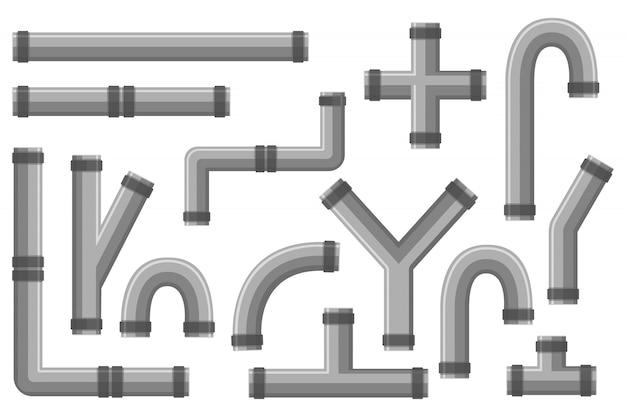 Details ware rohrsystem im flachen stil. sammlung von wasserrohr, kunststoffrohrleitung, filtern, gasventil. rohrverbindungen aus stahl und kunststoff, wasserrohre.