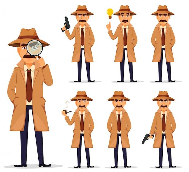 Detective in hut und mantel, gesetzt