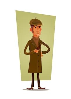 Detective man charakter pfeife.