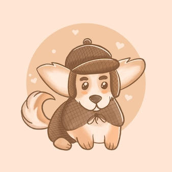 Detektiv corgi hundeillustration